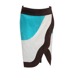 Suede Yves Saint Laurent Colour Block Wrap Skirt