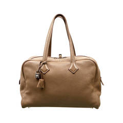 Hermes Taupe Clemence Leather 'Victoria' Bag, Size 35cm