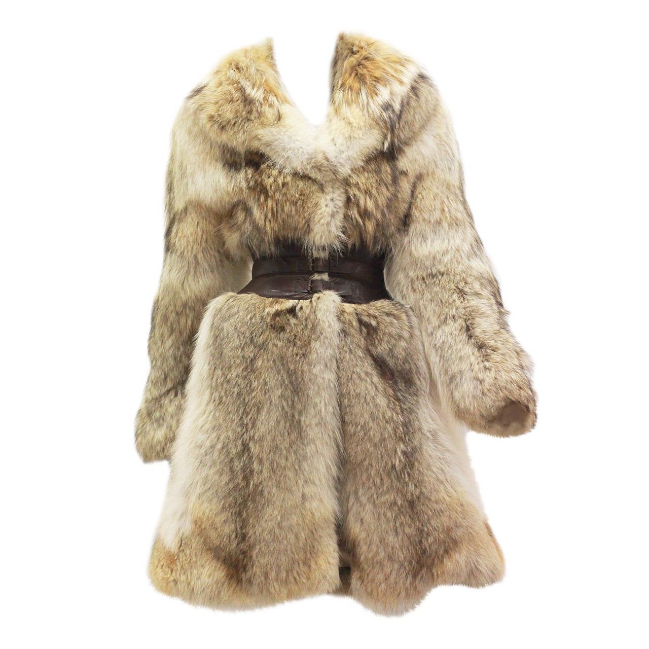 Fine and rare Alexander McQueen Corseted Coyote Fur Coat (Pre-Death) Circa 2006 1