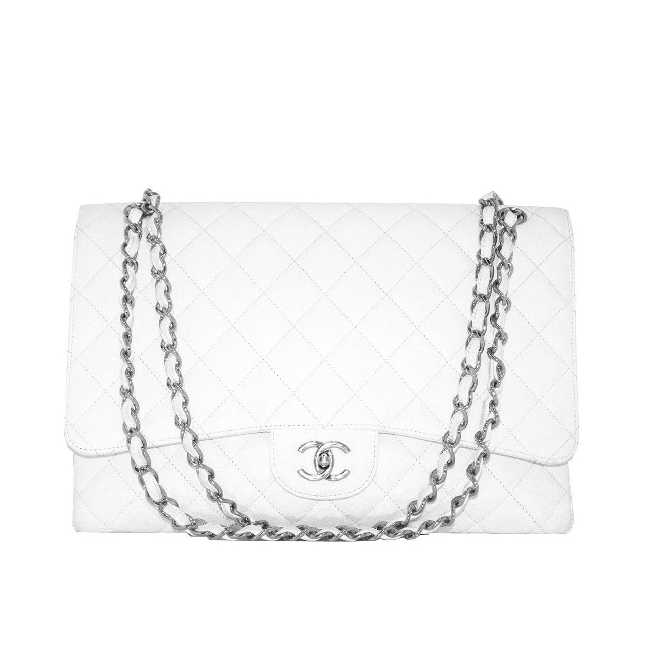 Chanel White Jumbo Caviar Classic Quilted Flap bag CIRCA 2010 1