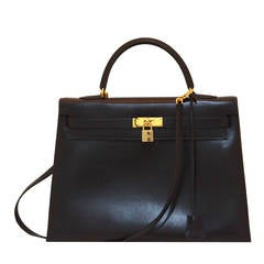 Hermes Midnight Blue Box Calf 35cm Kelly Handbag, CIRCA 1996