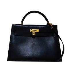 Hermes Black Box Calf Leather 32cm Kelly Handbag, CIRCA 1990