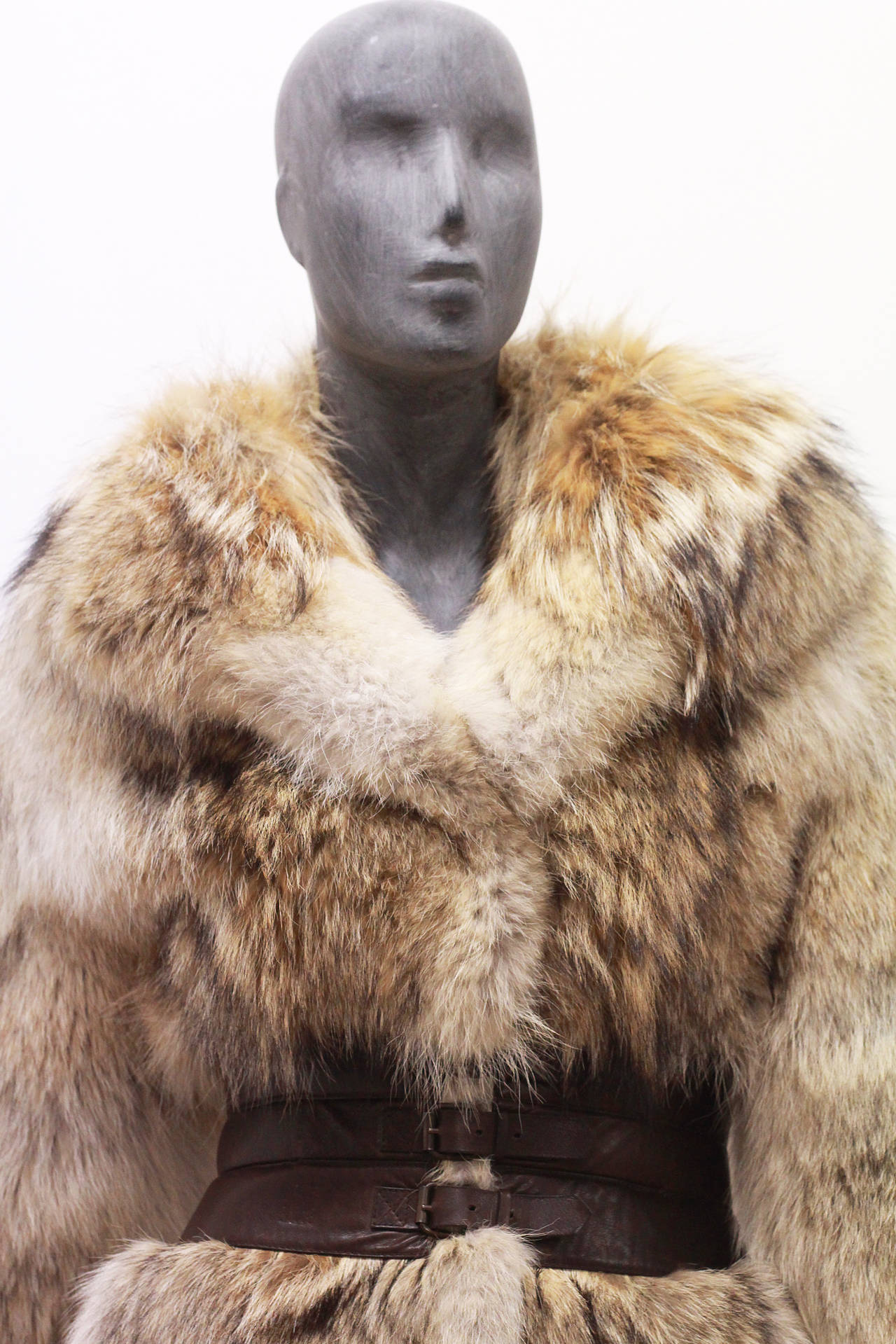 Fine and rare Alexander McQueen Corseted Coyote Fur Coat (Pre-Death) Circa 2006 2
