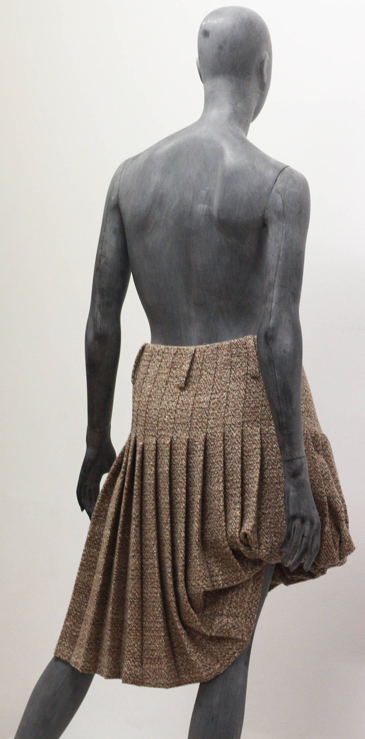 alexander mcqueen tweed pleated asymmetric bubble skirt for sale at 1stdibs. Black Bedroom Furniture Sets. Home Design Ideas