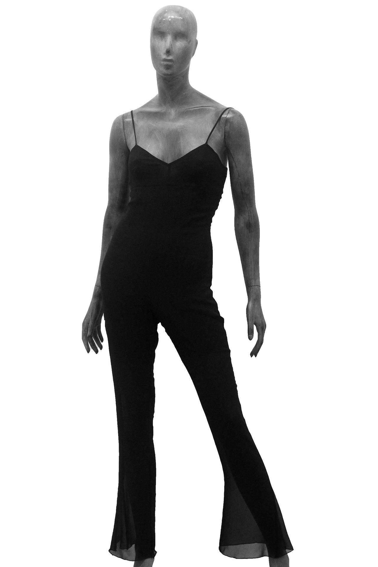 Chanel flared spaghetti strap silk chiffon jumpsuit (Circa 2003) In Excellent Condition For Sale In London, GB