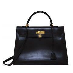 Hermes Chocolate Brown Box Calf 35cm Kelly Handbag, CIRCA 1997