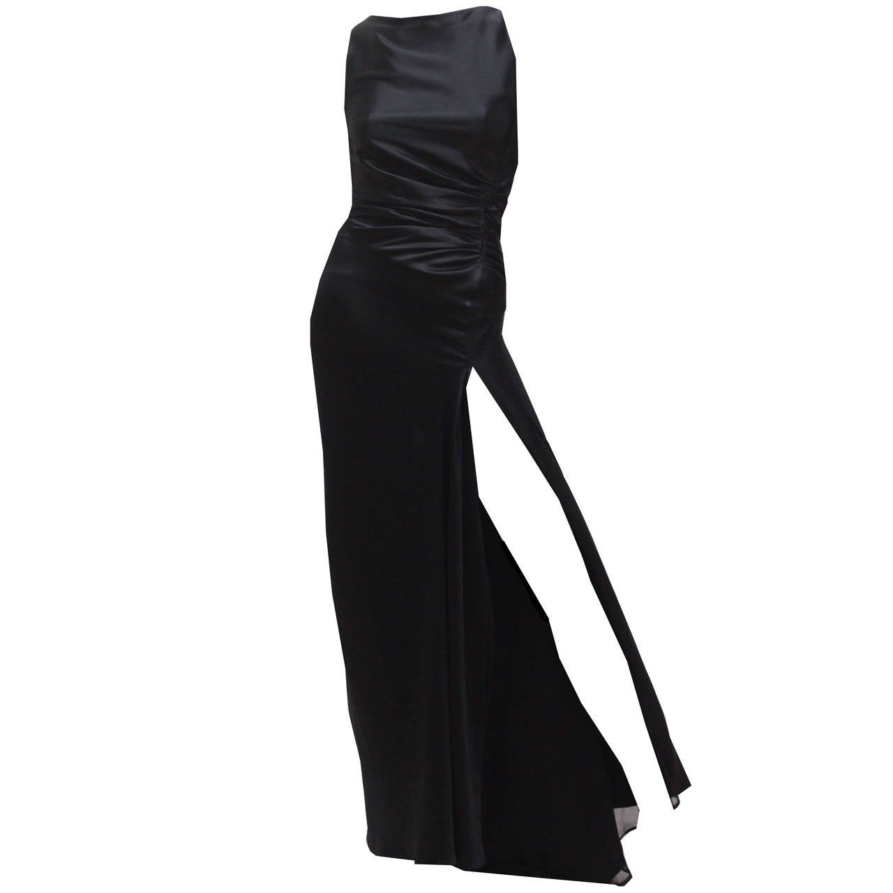 1990s Tom Ford for Gucci Black Silk High Slit Evening Dress For Sale