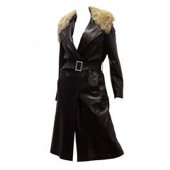 Tom Ford for Yves Saint Laurent Lambskin and Coyote Fur Runway Coat