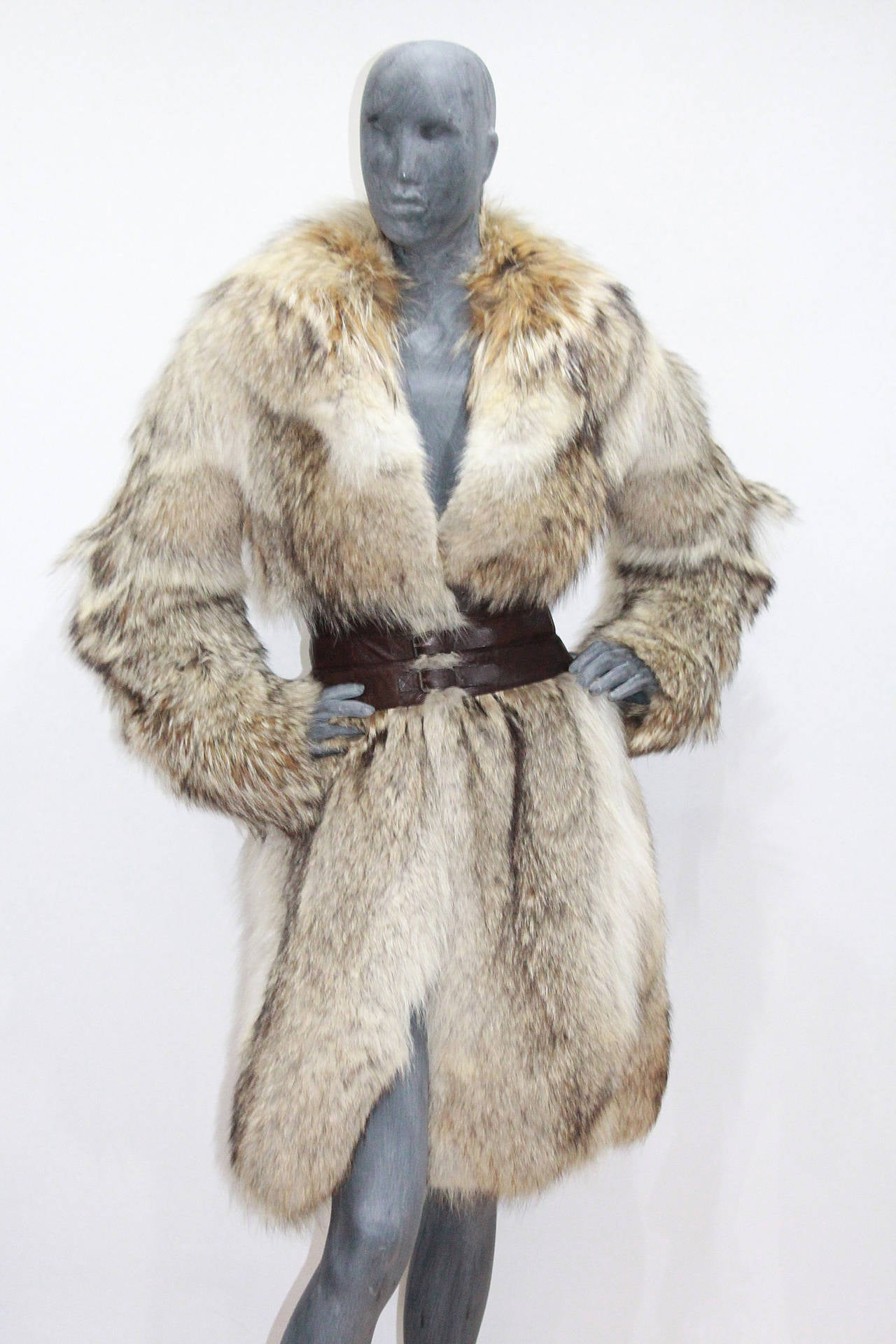 Fine and rare Alexander McQueen Corseted Coyote Fur Coat (Pre-Death) Circa 2006 4