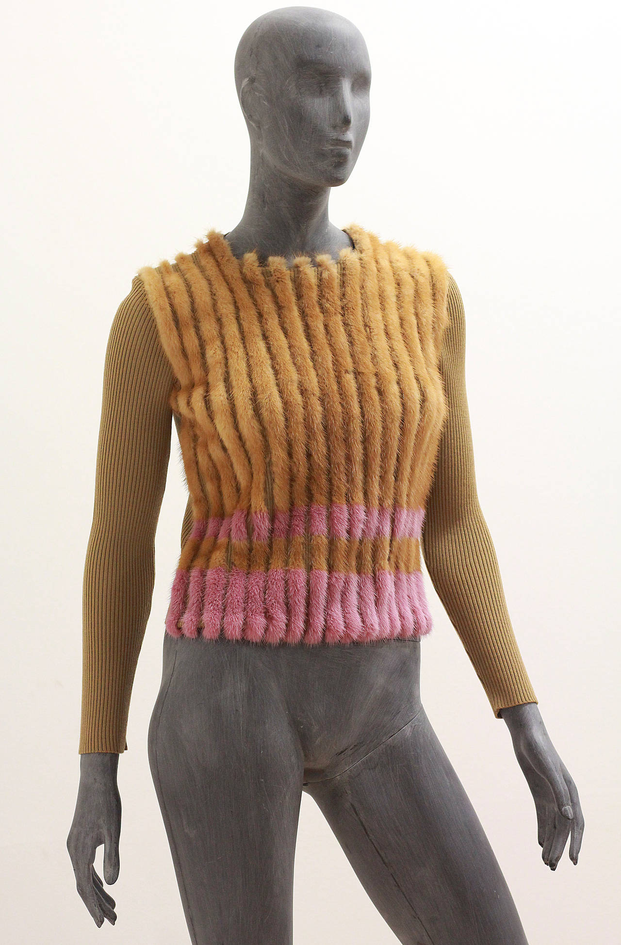 Prada rib knit sweater with pink and camel coloured mink panels on front. 