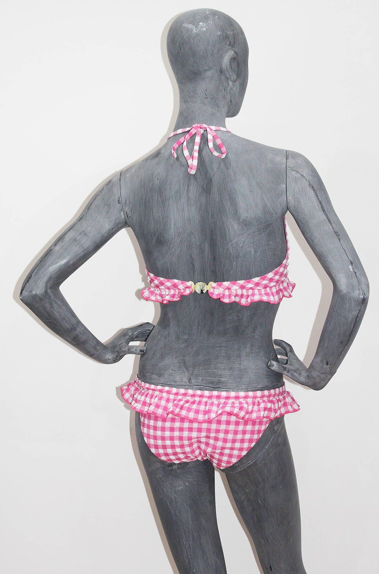Rare Unworn Chanel gingham baby pink bikini (Saint-Tropez resort 2011) 5