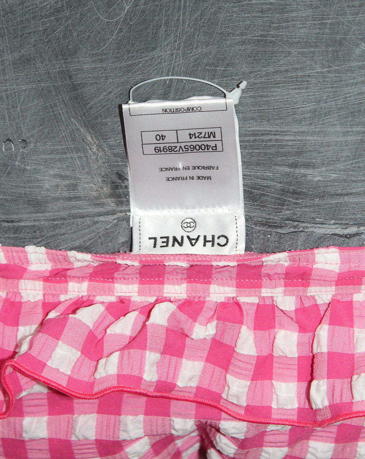 Rare Unworn Chanel gingham baby pink bikini (Saint-Tropez resort 2011) 7
