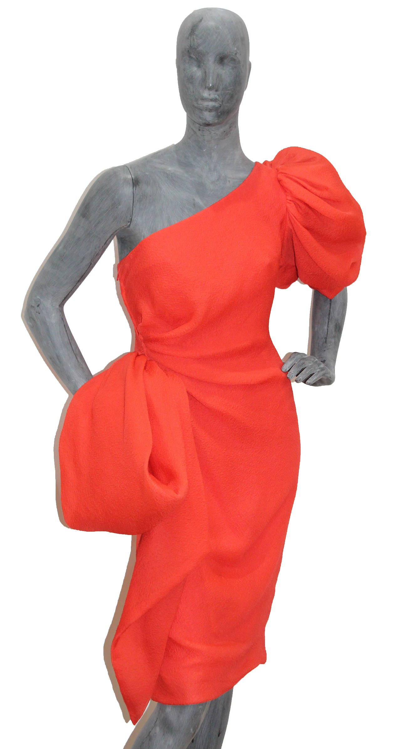 Fine and rare Givenchy silk crêpe coral one shoulder dress  c. 1988 2