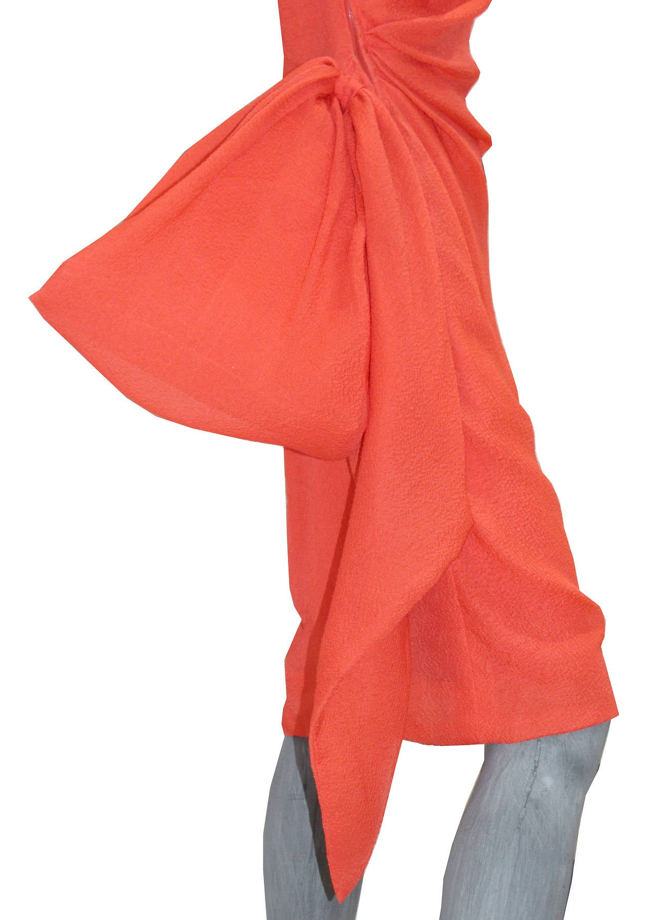 Fine and rare Givenchy silk crêpe coral one shoulder dress  c. 1988 3