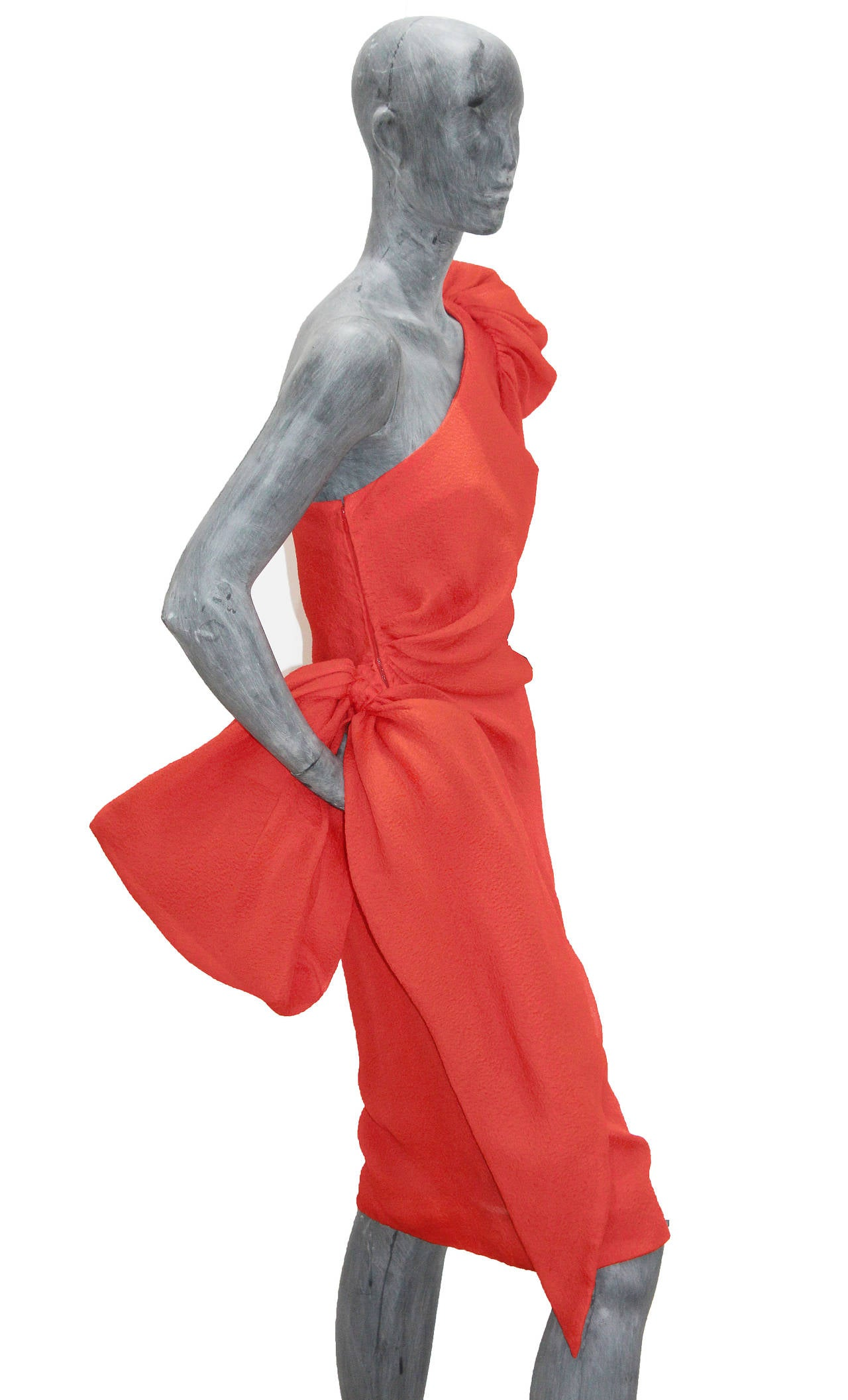Fine and rare Givenchy silk crêpe coral one shoulder dress  c. 1988 4