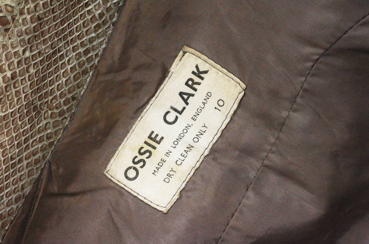 Early and rare Ossie Clark Snakeskin Jacket c. 1966 In Good Condition In London, GB