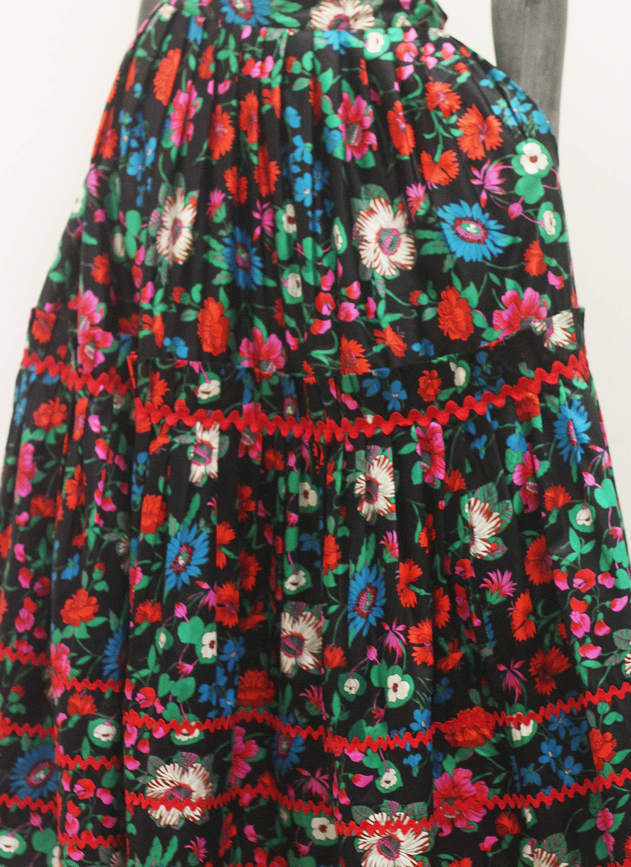 1970s Yves Saint Laurent Floral Gypsy Skirt 3