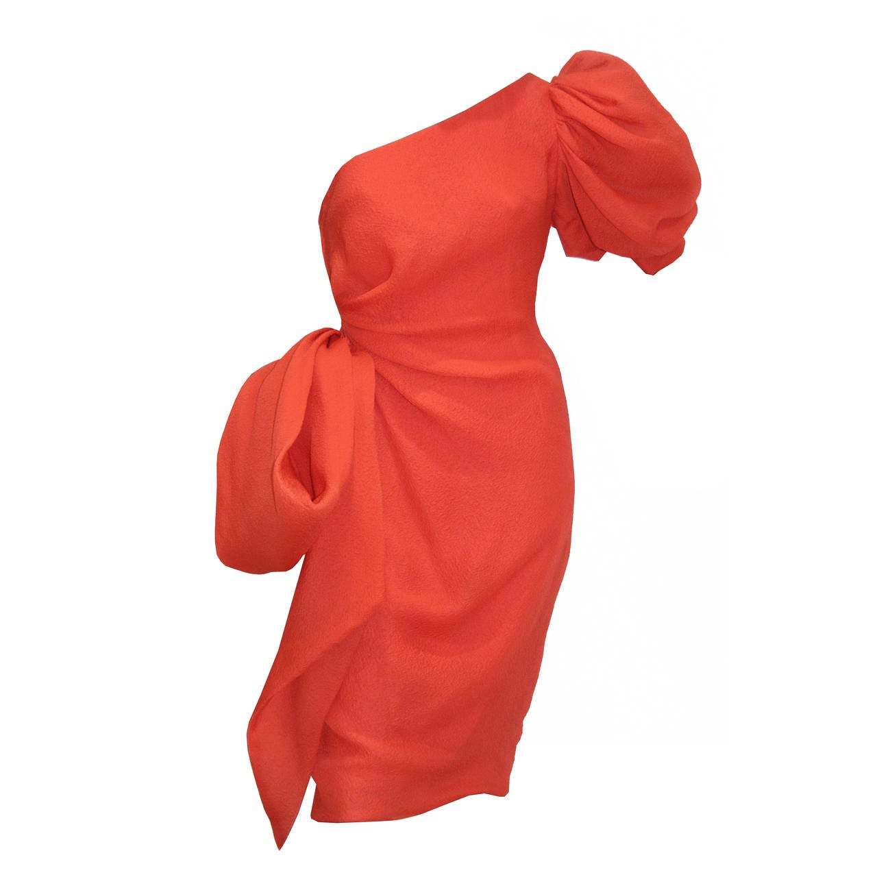 Fine and rare Givenchy silk crêpe coral one shoulder dress  c. 1988 1