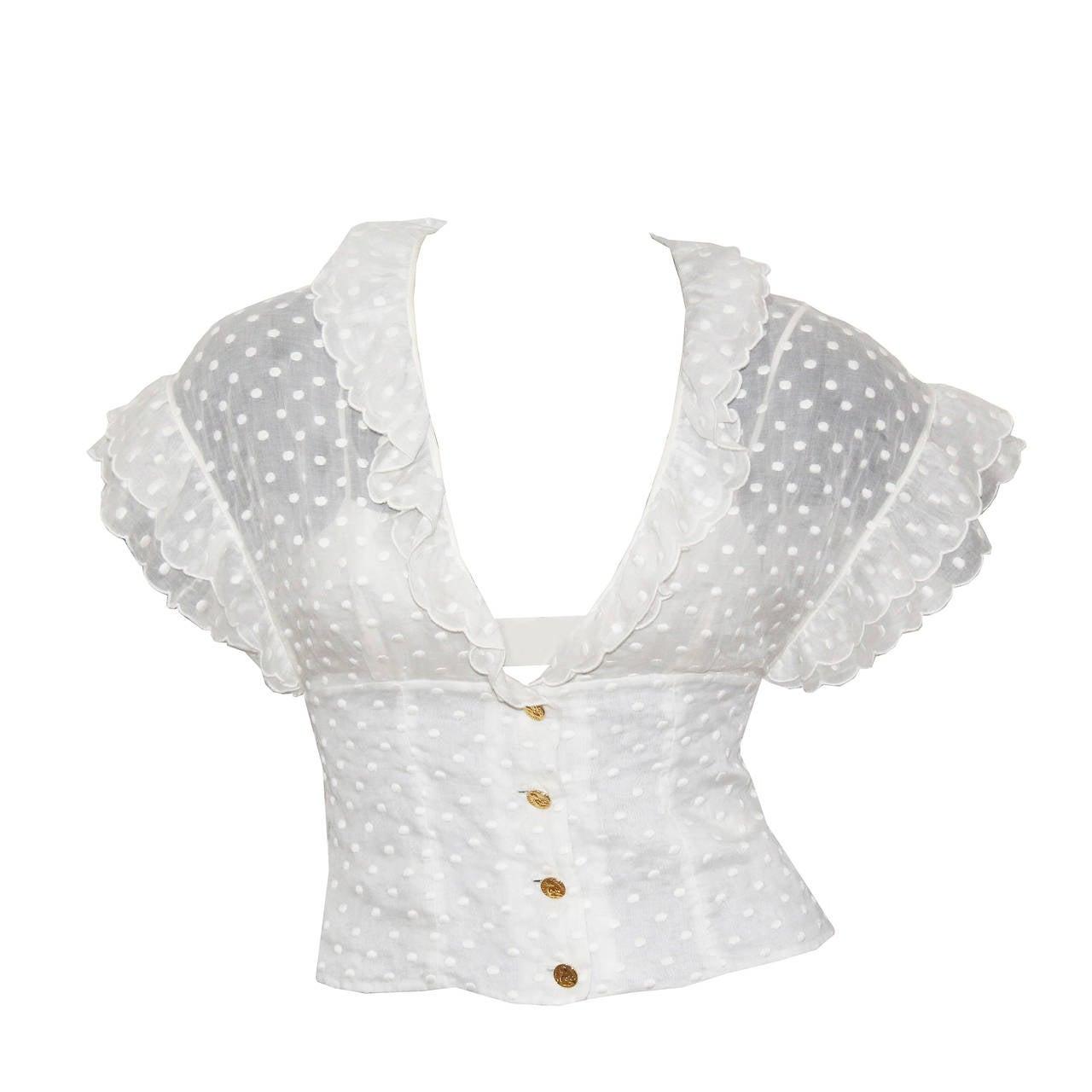 1980s Chanel polkadot ruffle summer blouse For Sale