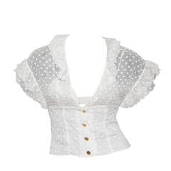 1980s Chanel polkadot ruffle summer blouse