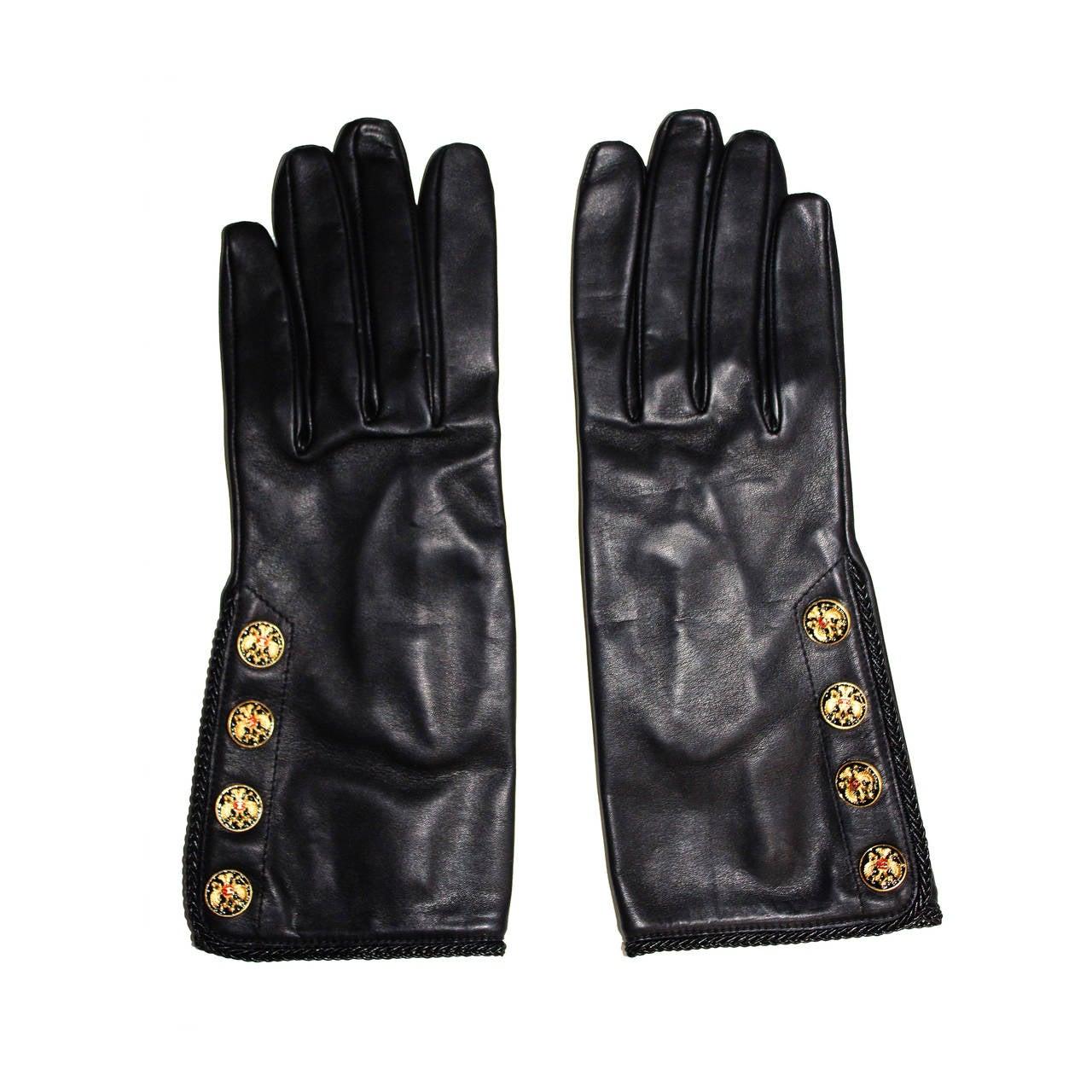 Chanel New/Unworn Lambskin Leather Gloves at 1stdibs