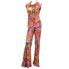 1960s Leonard Paris Silk Jersey Psychedelic 2 Piece Flared Trouser Suit