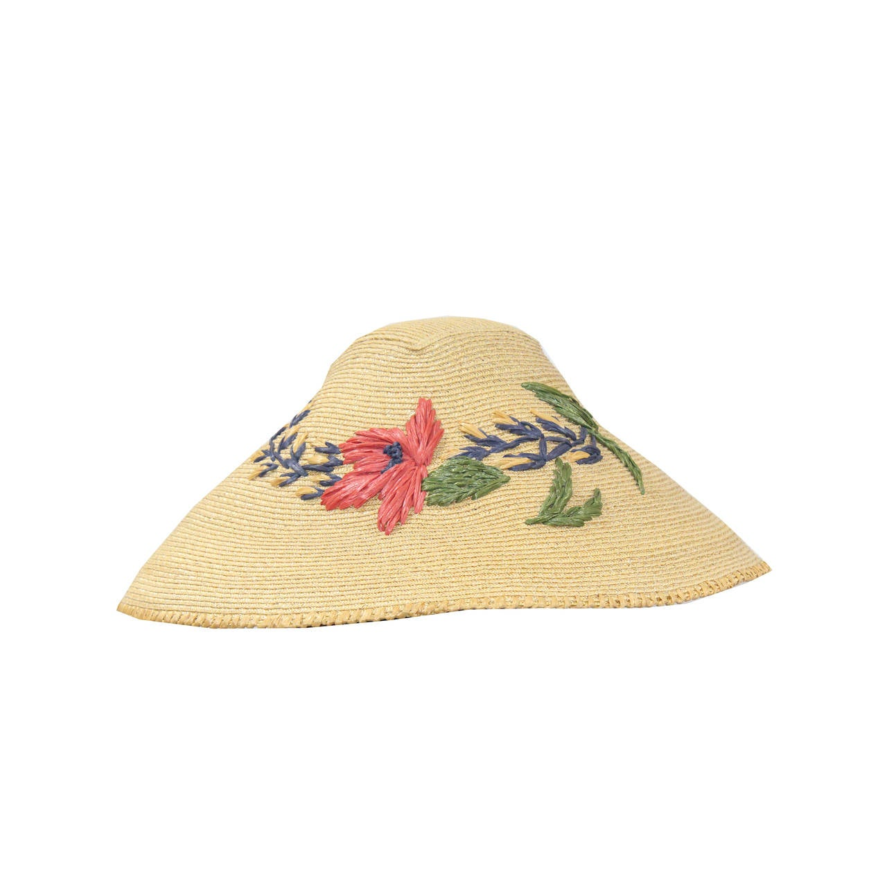 S grevi oriental style embroidered sun hat at stdibs
