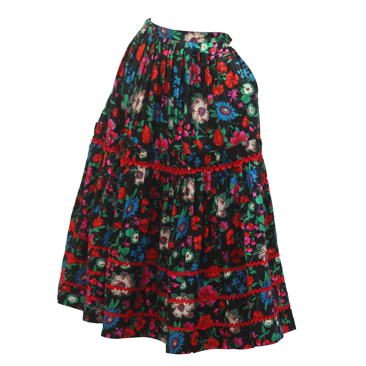 1970s Yves Saint Laurent Floral Gypsy Skirt For Sale