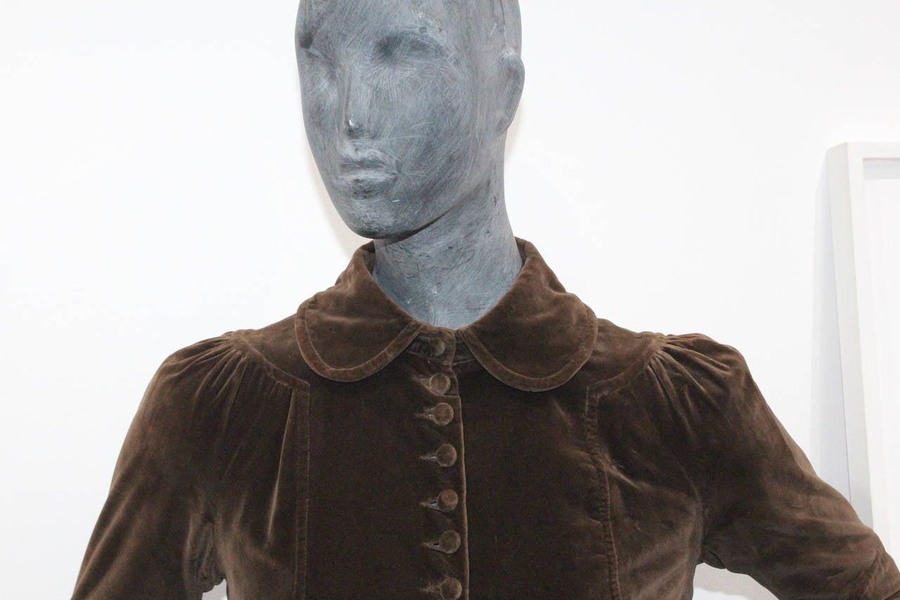 1960s Museum/Rare Early Ossie Clark Velvet Pleated Coat 3