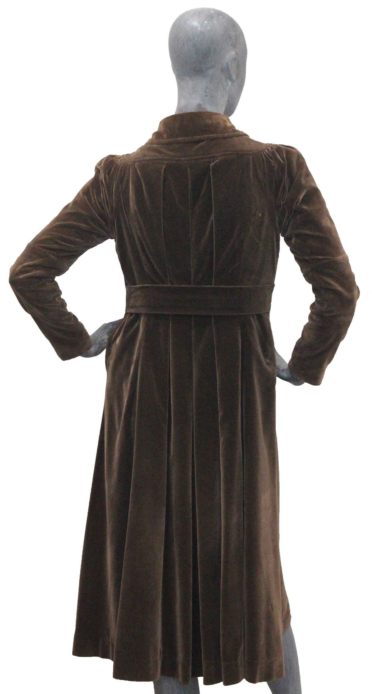 1960s Museum/Rare Early Ossie Clark Velvet Pleated Coat 5
