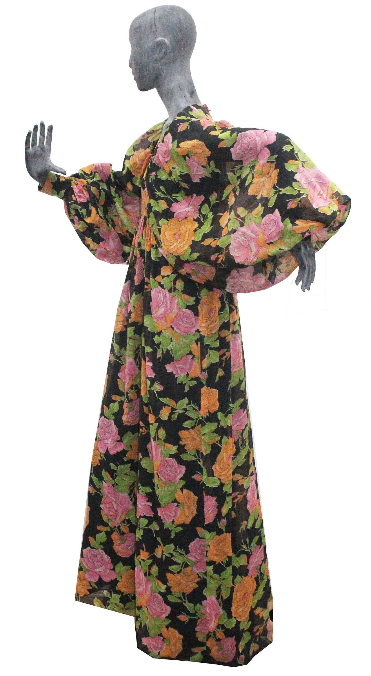 British Early 70s Floral Maxi Dress With Balloon Sleeves