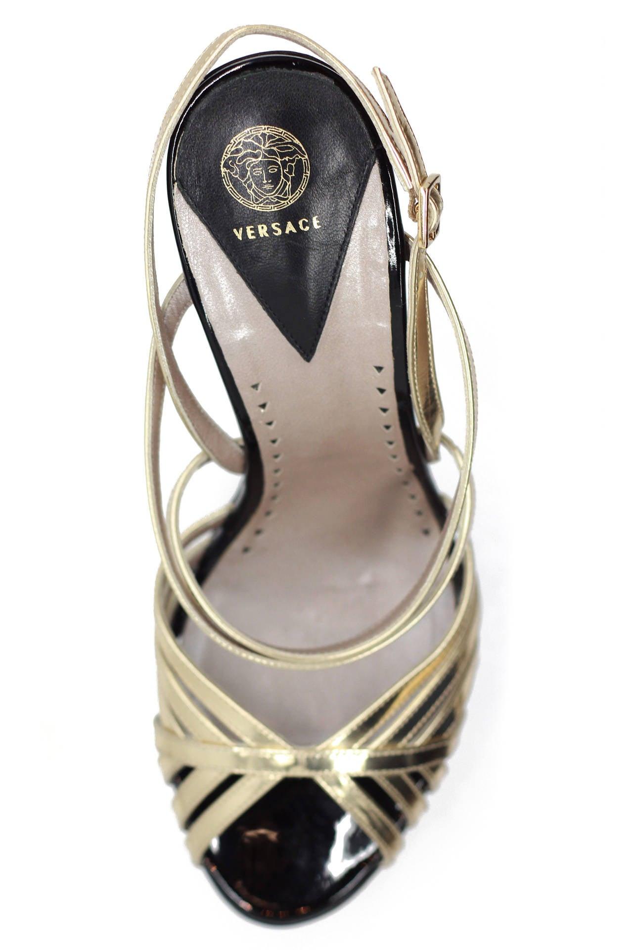 New Versace Gold Triple Platform Sandal Sz 41 4