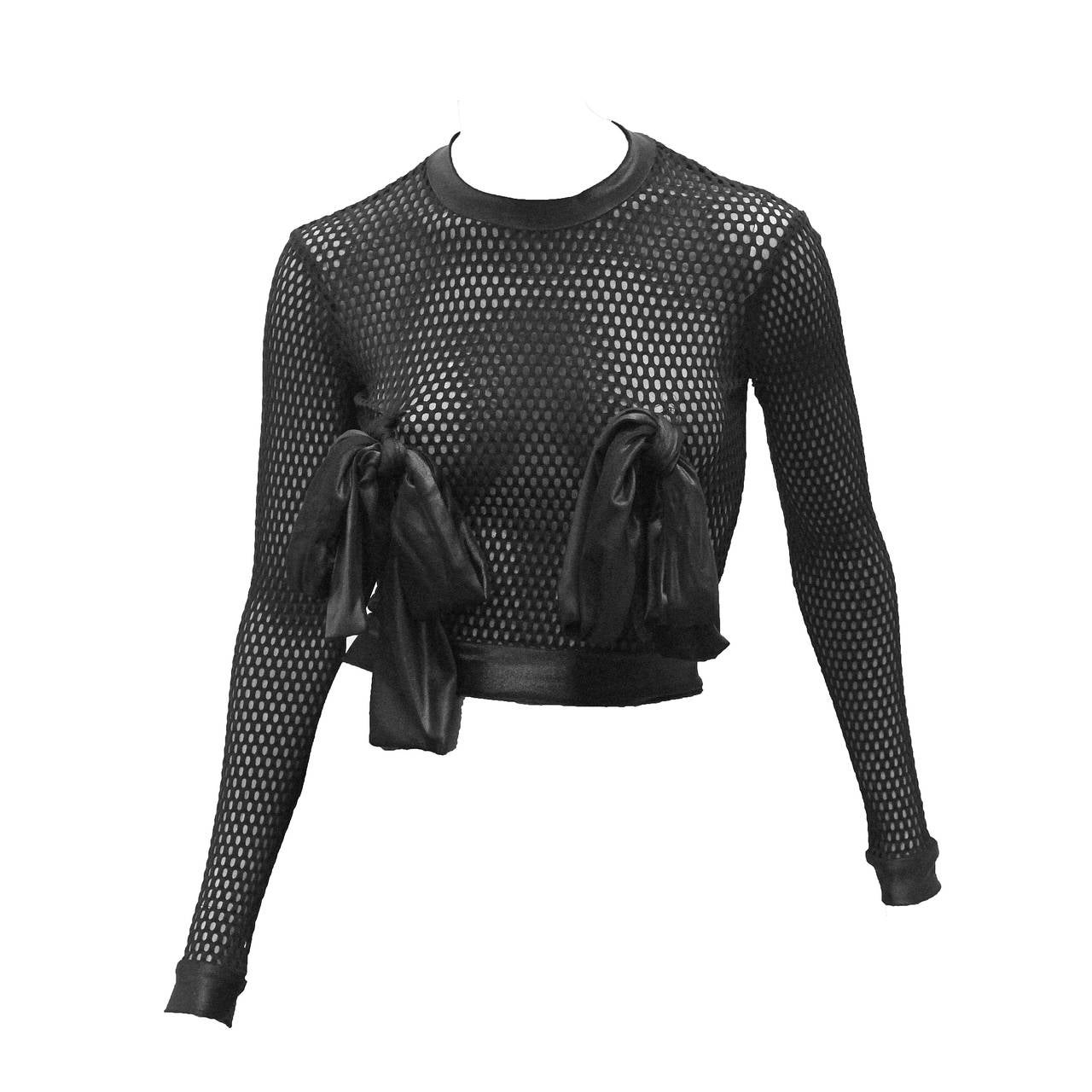 Rare 1990s Pam Hogg Mesh Bow Breast Top For Sale