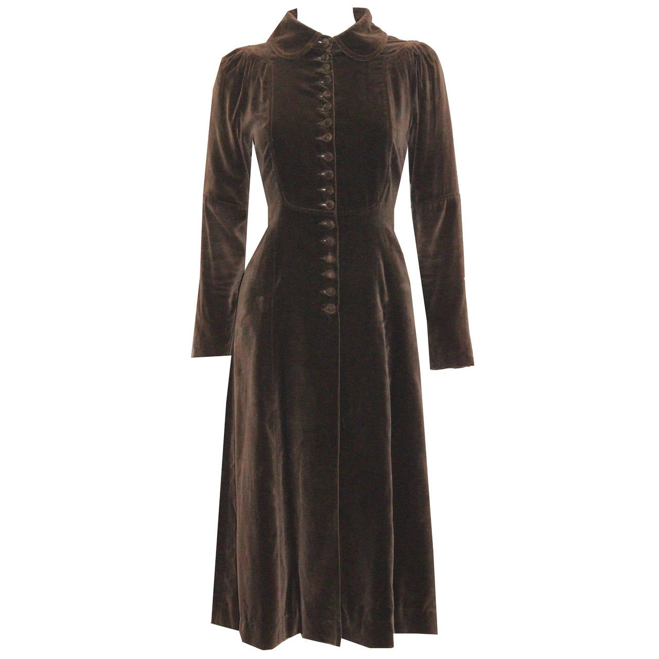 1960s Museum/Rare Early Ossie Clark Velvet Pleated Coat For Sale