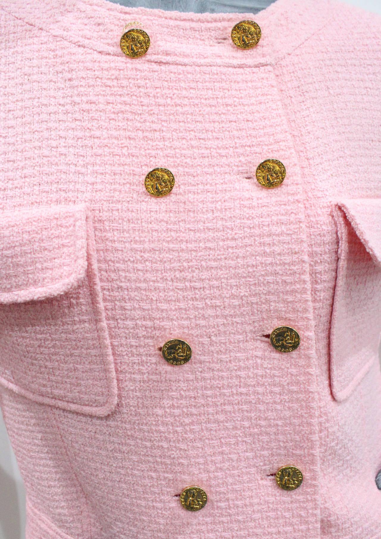 1980s Baby Pink Chanel Tweed 2 Piece Skirt Suit 2