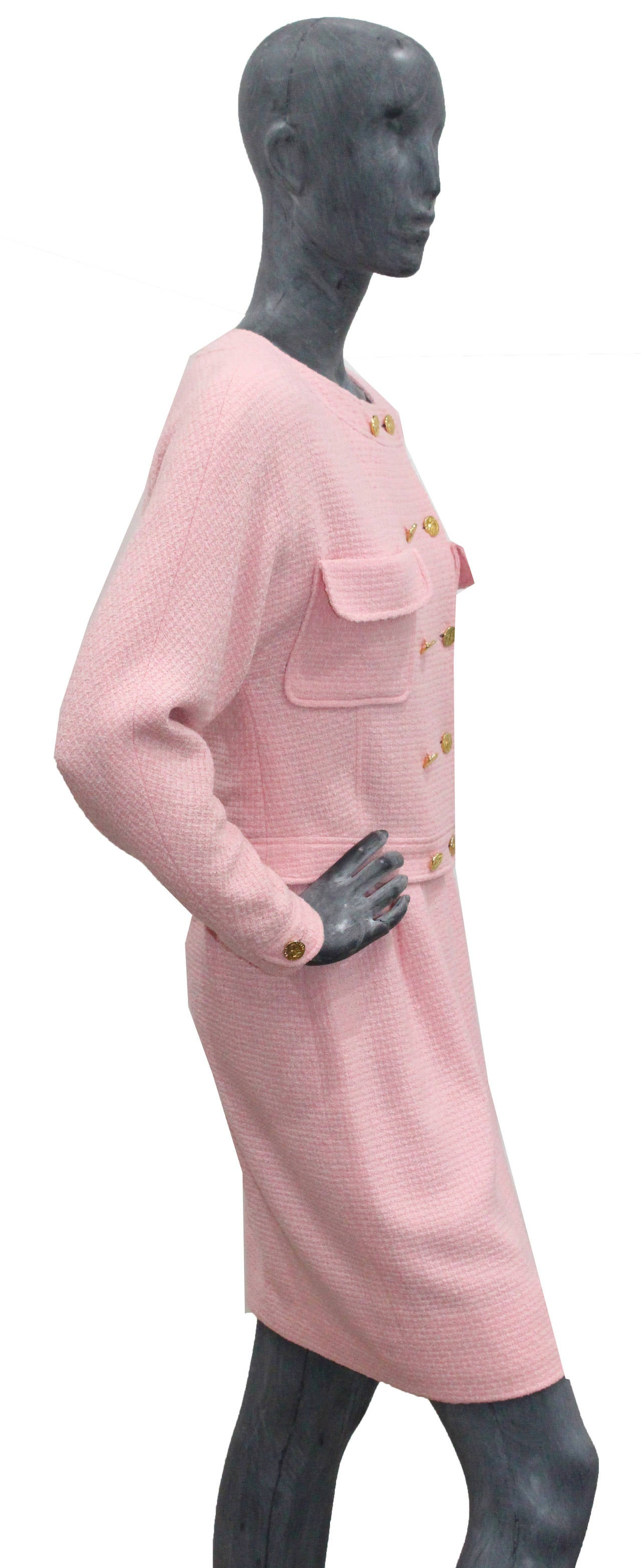 1980s Baby Pink Chanel Tweed 2 Piece Skirt Suit For Sale at 1stdibs