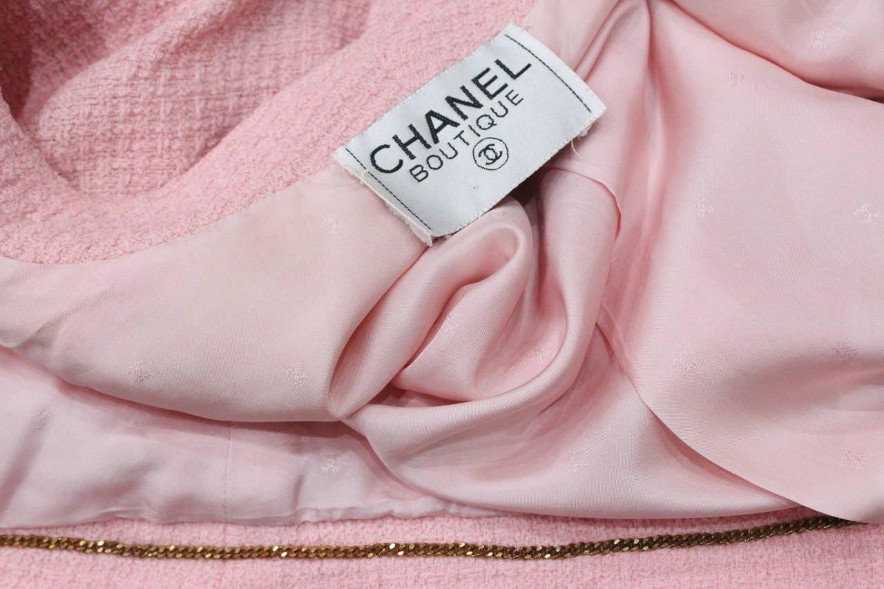 1980s Baby Pink Chanel Tweed 2 Piece Skirt Suit 4