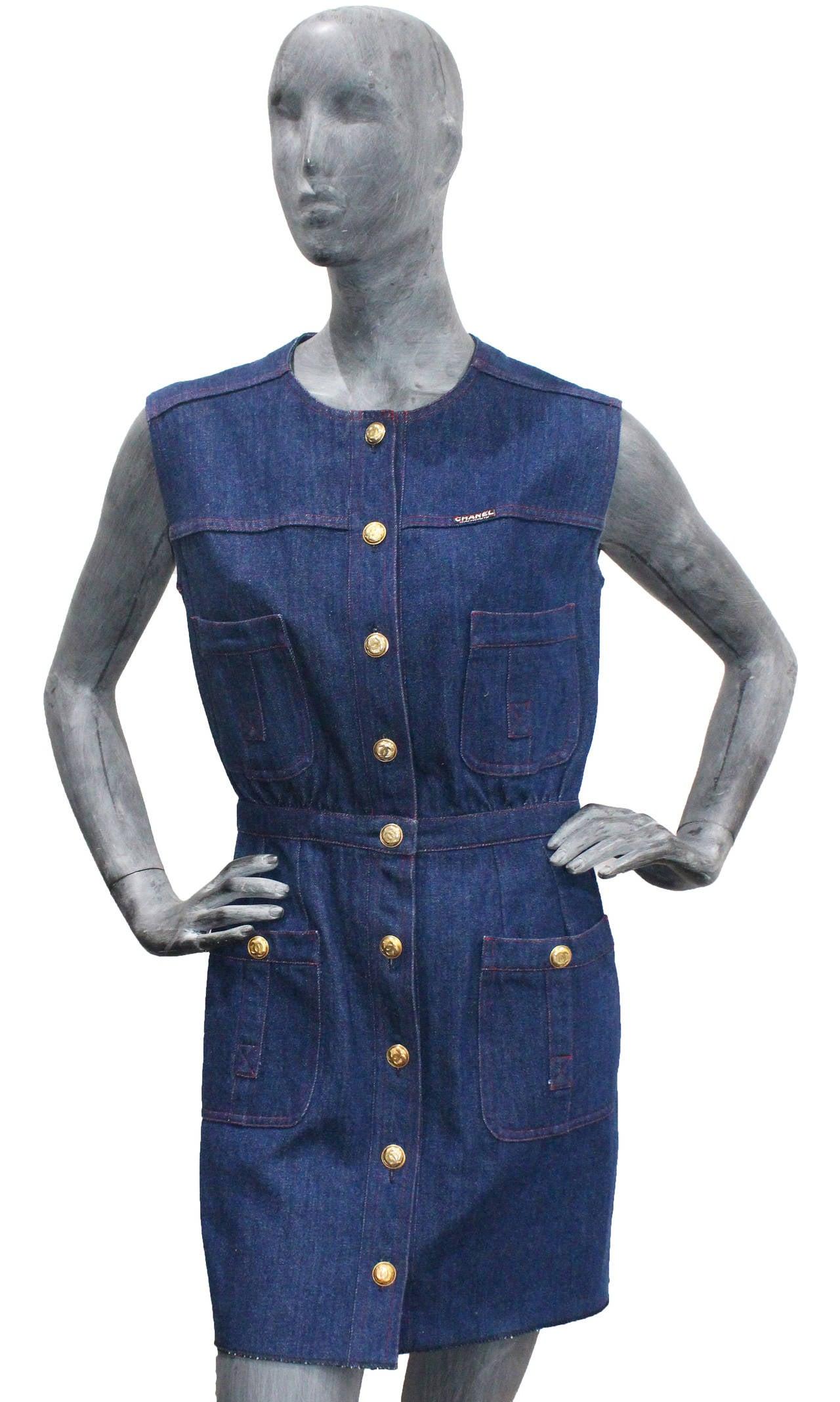 1990s Chanel Denim Button Up Mini Dress 2