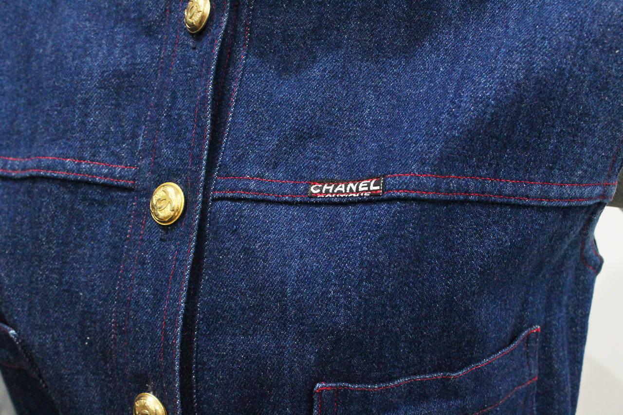 1990s Chanel Denim Button Up Mini Dress 3