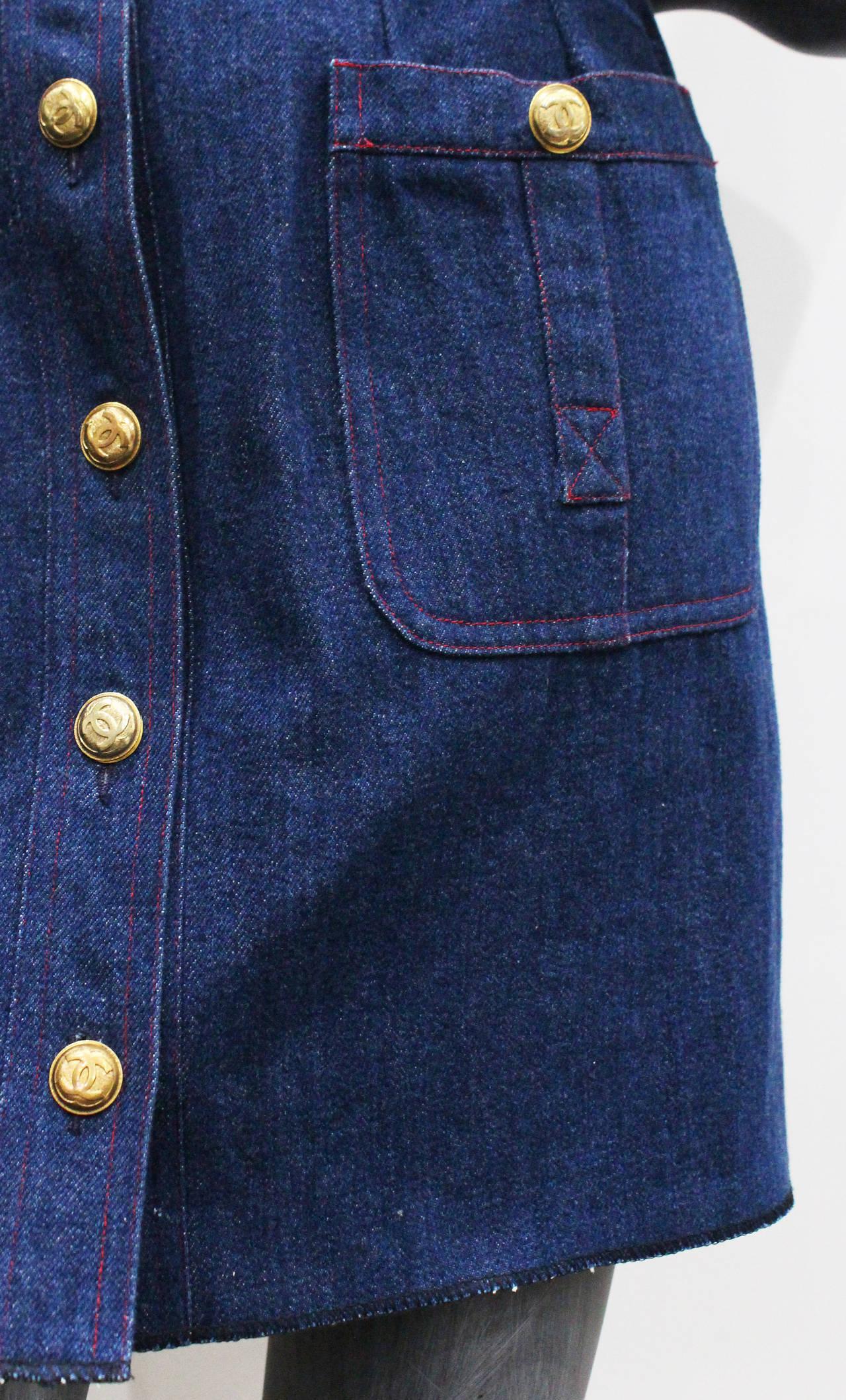 1990s Chanel Denim Button Up Mini Dress 4
