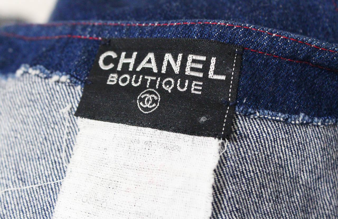 1990s Chanel Denim Button Up Mini Dress 5