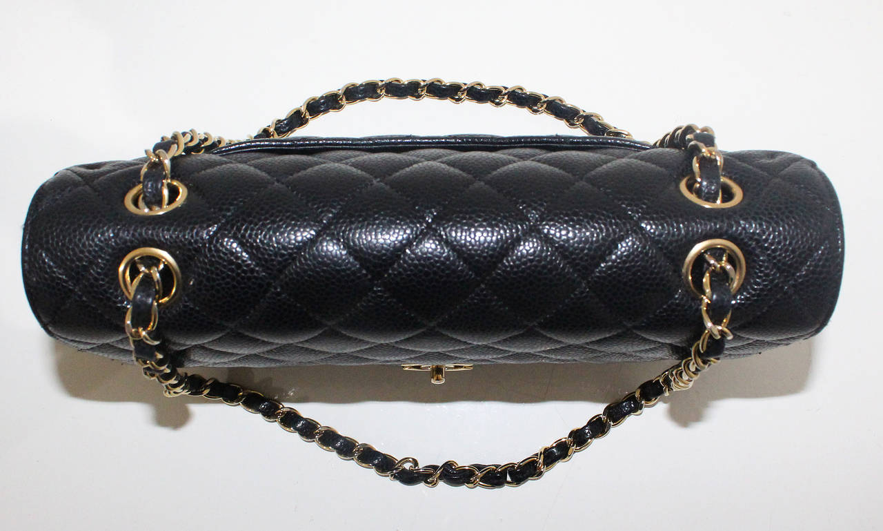 Chanel Black Quilted Caviar Classic Medium Double Flap Bag, Excellent Condition 6