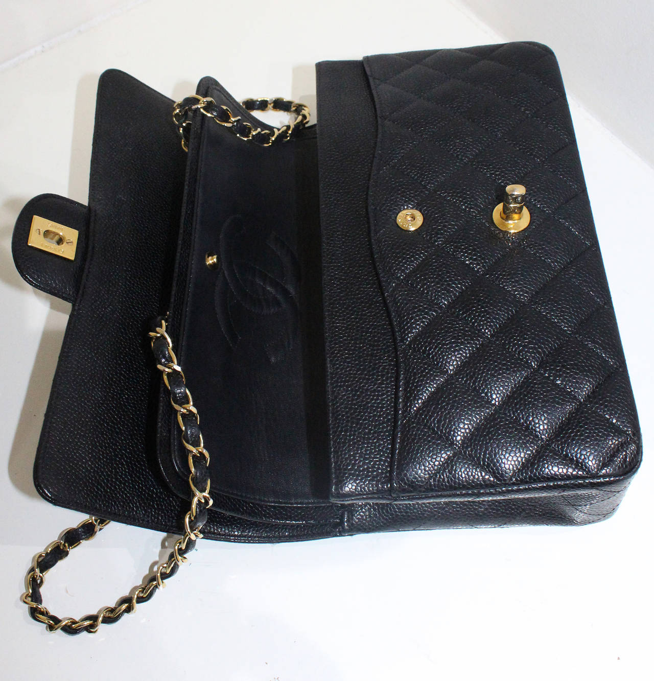 Chanel Black Quilted Caviar Classic Medium Double Flap Bag, Excellent Condition 4