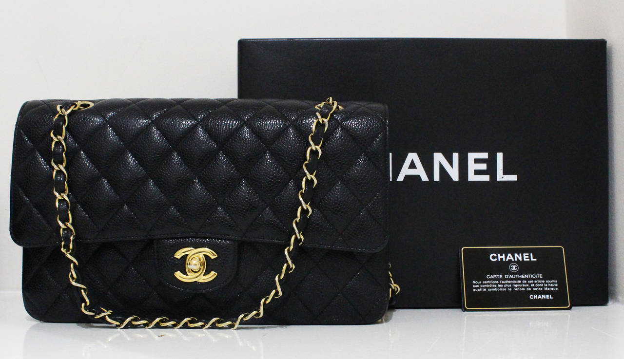 Chanel Black Quilted Caviar Classic Medium Double Flap Bag, Excellent Condition 3