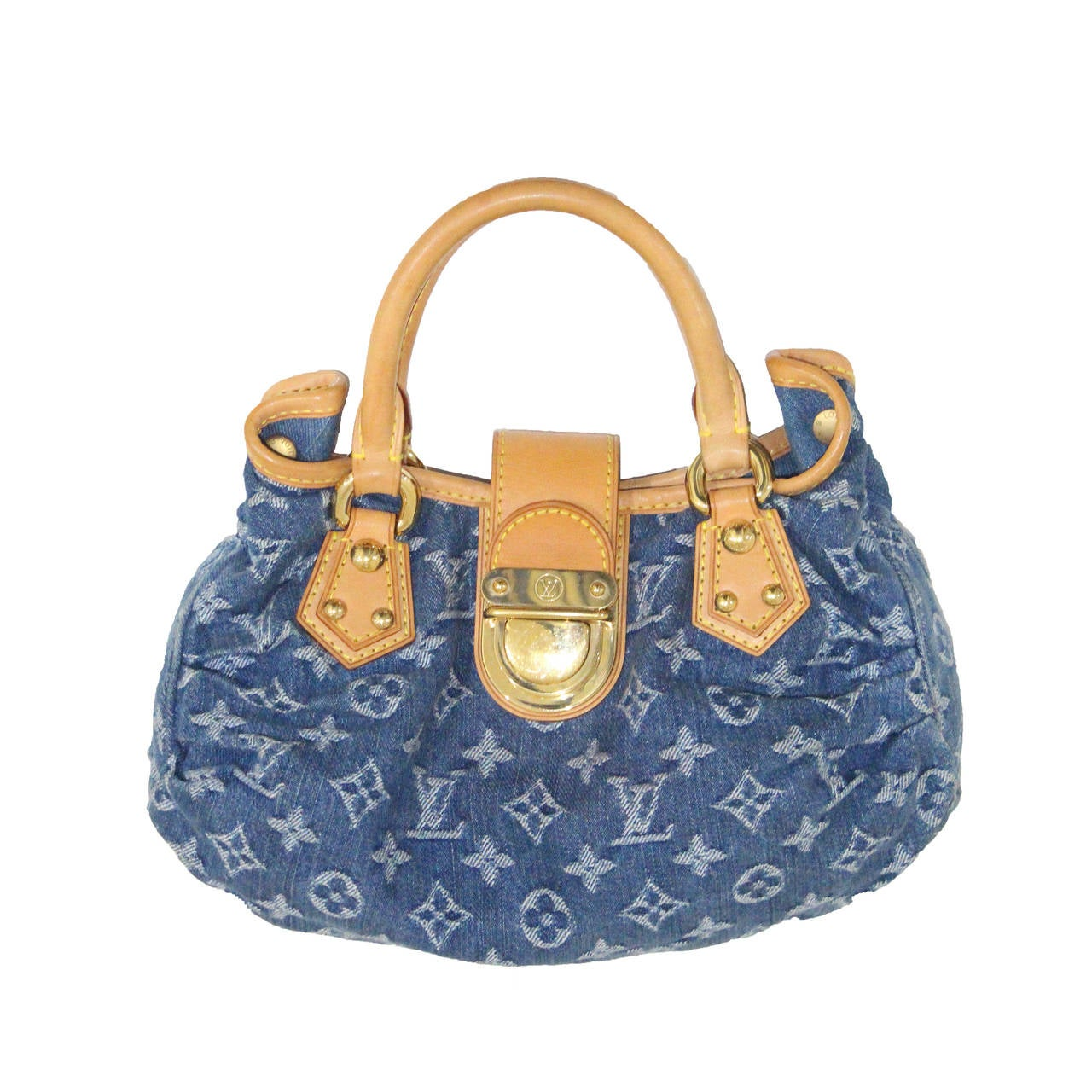 mini louis vuitton 39 pleaty 39 denim monogram bag at 1stdibs. Black Bedroom Furniture Sets. Home Design Ideas