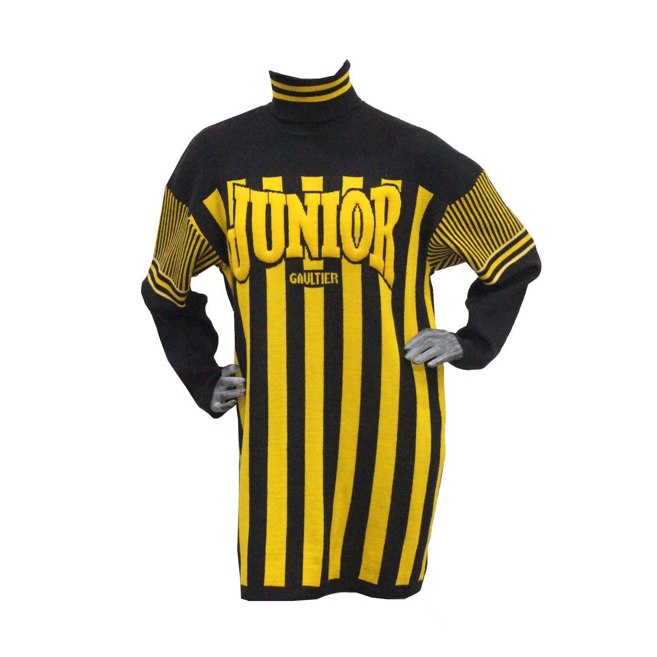 A rare 1980s Jean Paul Gaultier Football Knitted Sweater Dress