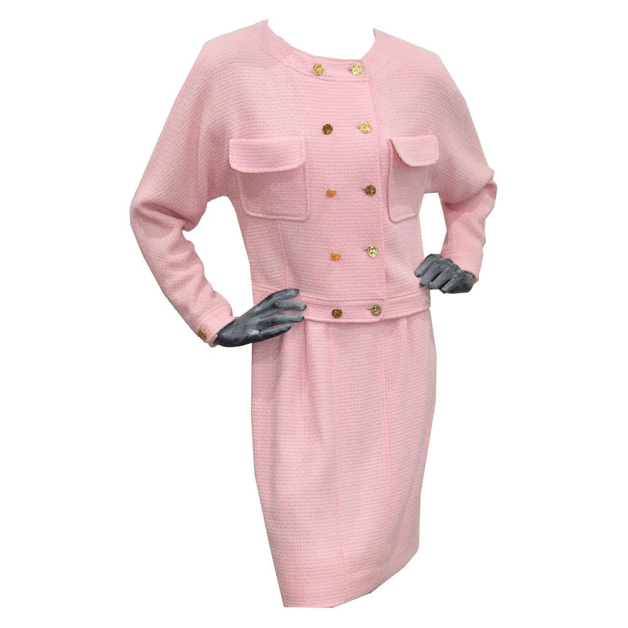 1980s Baby Pink Chanel Tweed 2 Piece Skirt Suit 1