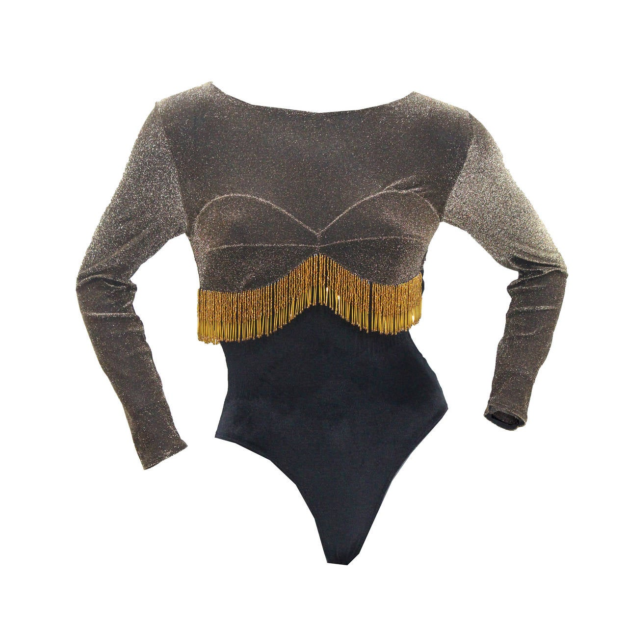 A Unique 1980s Velvet Beaded Tassel Show Girl Leotard 1