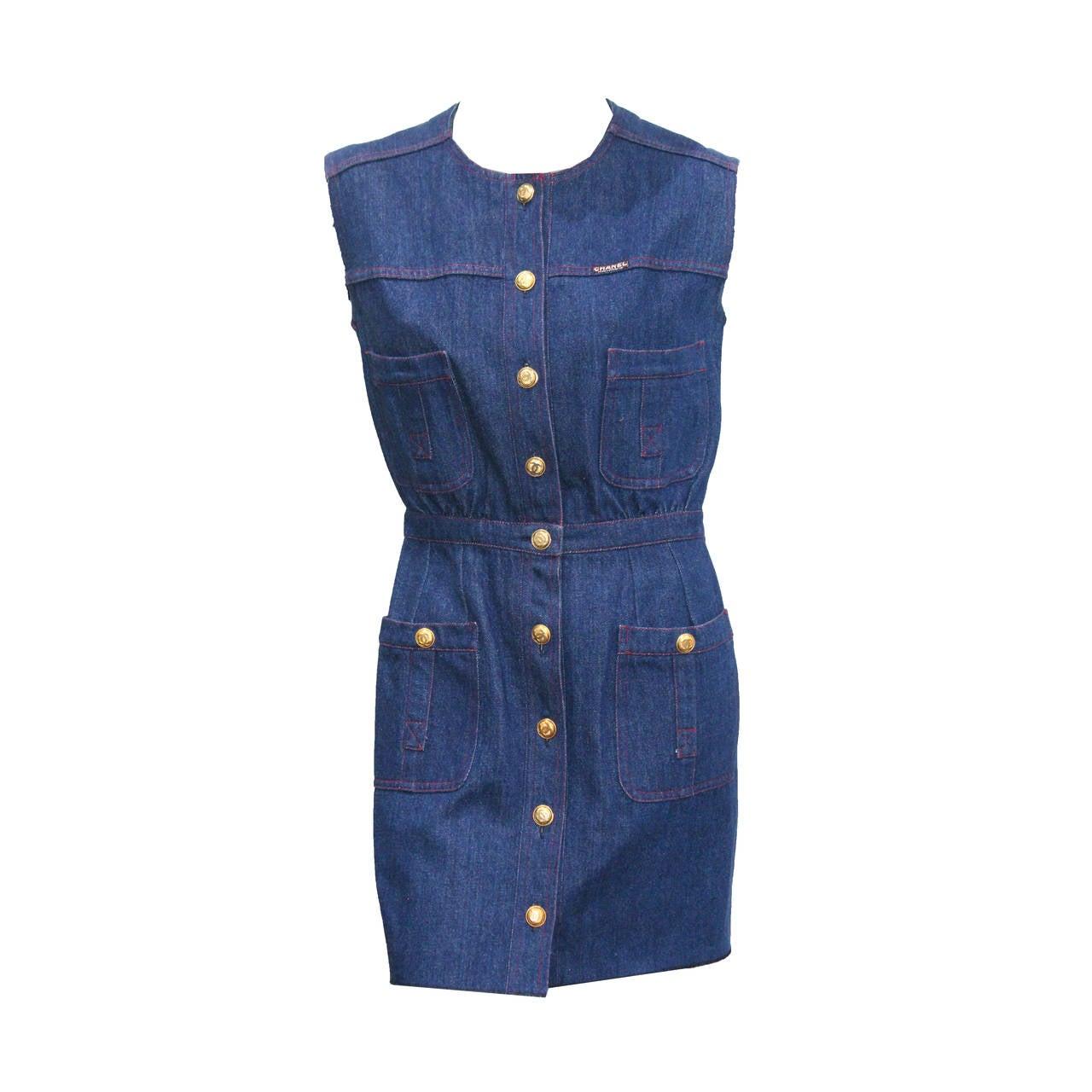 1990s Chanel Denim Button Up Mini Dress 1
