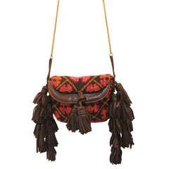 Rare Sonia Rykiel Knitted Tapestry Beaded Tassel Shoulder Bag